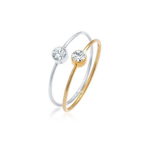 Elli Ring-Set »Solitär Kristalle (2 tlg) 925 Bicolor«, Kristall Ring, silberfarben