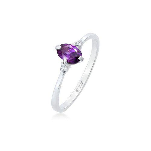 Elli Fingerring »Zirkonia Kristalle Violett Verlobung 925er Silber«, Kristall Ring
