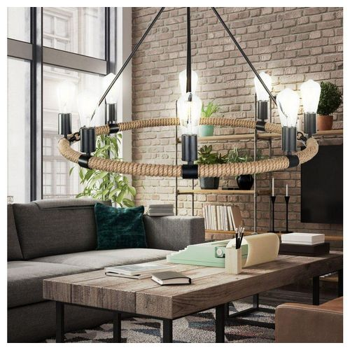 etc-shop Kronleuchter, Kronleuchter rustikal Wohn Zimmer Pendel Leuchte Hanf Seil Decken Hänge Luster Lampe