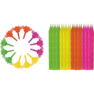 STYLEX® Geburtstagskerzen-Set, 36-teilig, Kerzen in verschiedenen Farben inkl. 12 Kerzenhalter, 1 Set = 24 Kerzen + 12 Kerzenhalter