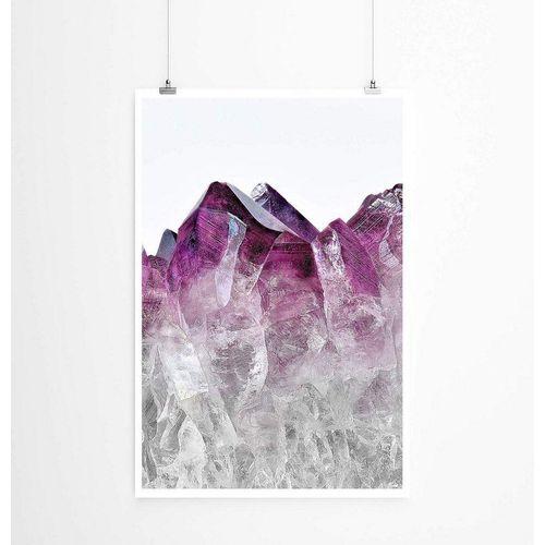 Sinus Art Poster »Ombre Amethyst Kristall violett weiß 60x90cm Poster«