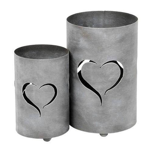 Levandeo® Laterne, 2er Set Windlicht Herz H32cm Grau Laterne Gartenleuchte Kerzenhalter Garten Deko, grau