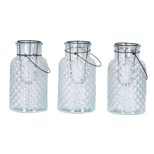 Levandeo® Laterne, 3er Set Windlicht H26cm Glas Laterne Weiß Gartenleuchte Kerzenhalter Garten Deko