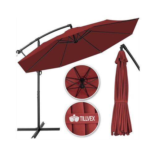 tillvex Sonnenschirm, Ampelschirm Ø 300 cm mit Kurbel, Sonnenschirm mit Ständer, Gartenschirm UV-Schutz Aluminium, Kurbelschirm Marktschirm wasserdicht, rot