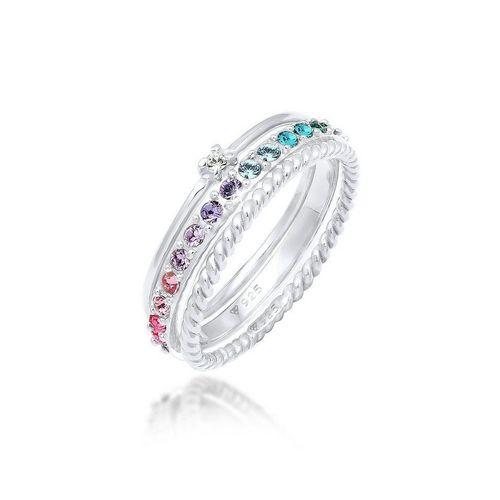 Elli Ring-Set »Kristalle Farbig Regenbogen Set (3 tlg) 925 Silber«, Kristall Ring