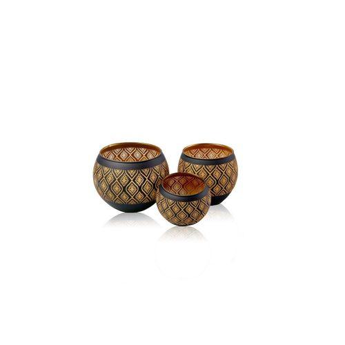 Flanacom Teelichthalter »Orientalische Kerzengläser Holz - Ornament Design« (3er Set), orientalisches Design