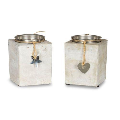 Levandeo® Kerzenständer, 2er Set Kerzenständer Beton Je 13cm Hoch Kerzenleuchter Grau Kerzenhalter Deko