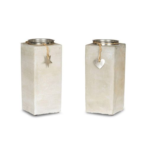 Levandeo® Kerzenständer, 2er Set Kerzenständer Beton Je 23cm Hoch Kerzenleuchter Grau Kerzenhalter Deko