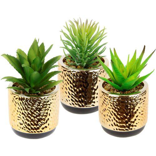 Kunstpflanze »Sukkulenten-Set«, I.GE.A., Höhe 15 cm, Im Keramiktopf, grün