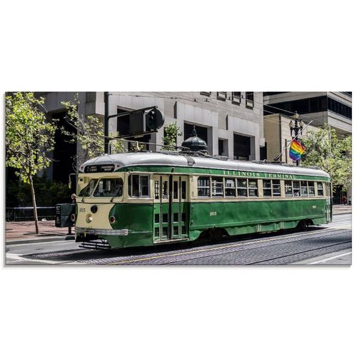 Artland Glasbild »Historische Straßenbahn in San Francisco«, Züge (1 Stück), grün