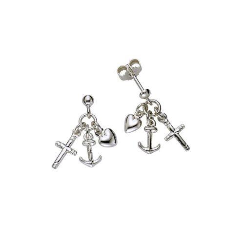 Zeeme Paar Ohrhänger »925/- Sterling Silber beweglich«, für Kinder, weiß