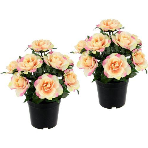 Kunstblume »Rosen im Topf«, I.GE.A., Höhe 25 cm, 2er Set, rosa