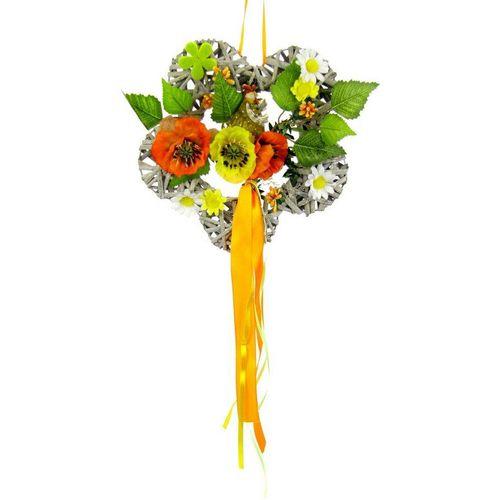 Kunstkranz »Holzblume«, I.GE.A., Höhe 24 cm, orange