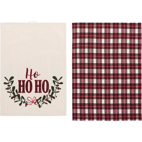 LeGer Home by Lena Gercke Geschirrtuch »Sanjana«, (Set, 6-tlg., 3x Geschirrtuch mit Schriftzug, 3x Geschirrtuch mit Karomotiv), mit Weihnachtsmotiv, rot