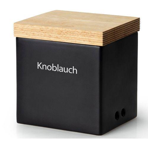 Continenta Vorratsdose, Keramik, Holz, (1-tlg), Knoblauchtopf, schwarz