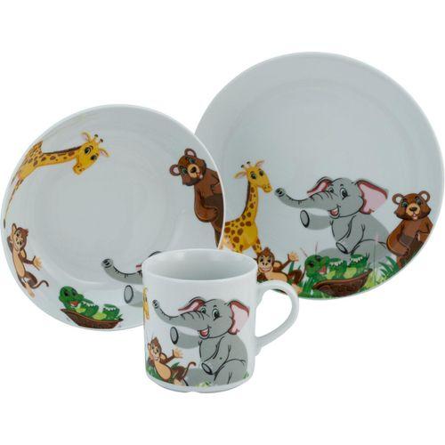 CreaTable Kindergeschirr-Set »Zoo« (3-tlg), Porzellan, Dekor mit lustigen Zoobewohnern, bunt