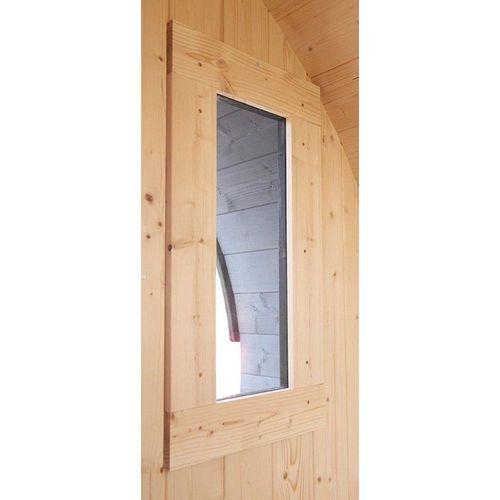 Karibu Saunafenster, 40 mm BxH: 25x60 cm, für Saunafass, Klarglas, naturbelassen, beige