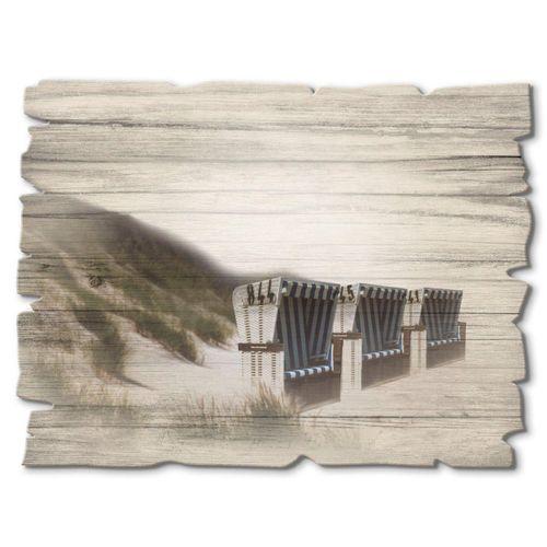 Artland Holzbild »Strandkörbe«, Strand (1 Stück), weiß