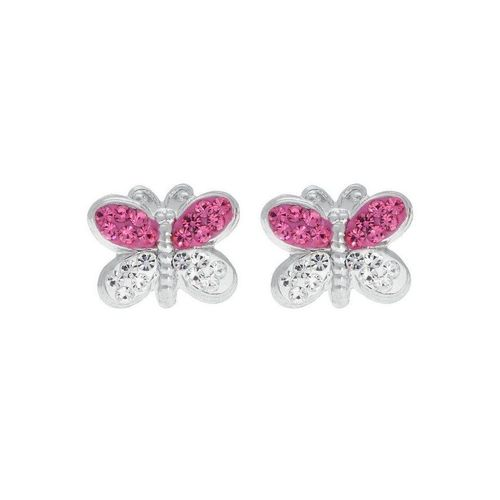 Firetti Paar Ohrstecker »Schmetterling«, mit Kristallen, rosa