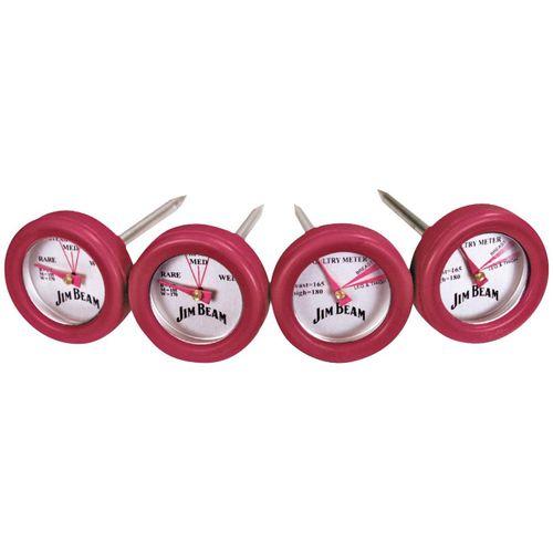 Jim Beam BBQ Grillthermometer, Set, 2 Thermometer für Steak und 2 Thermometer für Geflügel, rot