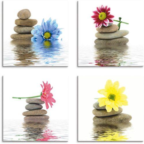 Artland Leinwandbild »Zen Therapie-Steine mit Blumen«, Zen (4 Stück)