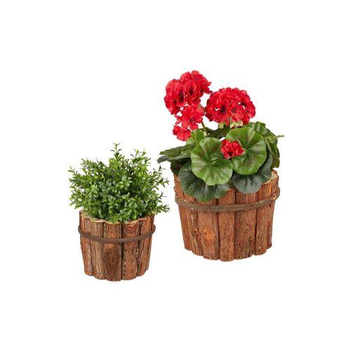 relaxdays Blumentopf »Blumentopf Holz 2er Set