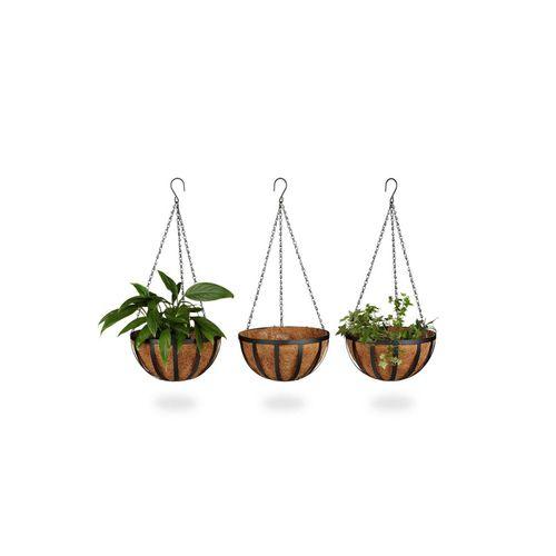 relaxdays Blumenampel »Blumenampel 3er-Set 30 cm«