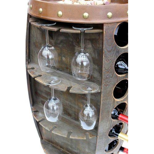 DanDiBo Weinregal »Weinregal Weinfass Holz 0416 Bar Flaschenständer 84 cm für 42 Fl. Regal Fass Holzfass Minibar