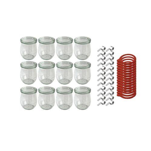 Weck Einmachglas »Sturzgläser mit Deckel − Einmachglas 12−teilig − 220 ml − Einweckglas inkl. Gummiringe und Weckklammern«, Glas, (12-tlg)
