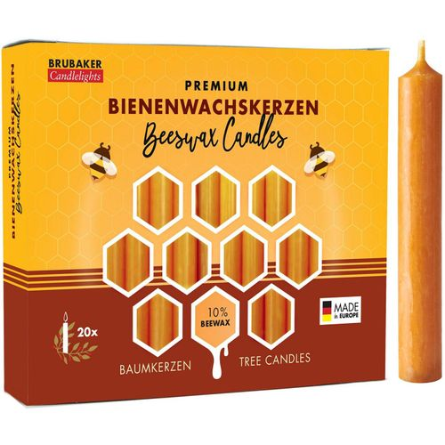 BRUBAKER Bienenwachskerze »Honig-gelbe Baumkerzen aus echtem Bienenwachs