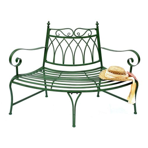 DanDiBo Gartenbank »Gartenbank Wetterfest Halbrund aus Metall Grün 93996 140cm Bank Metallbank Sitzbank Garten«