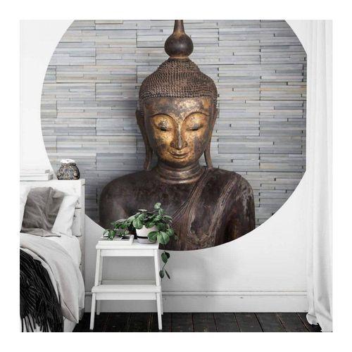 K&L Wall Art Fototapete »Runde Fototapete Feng-Shui Tapete Buddha Vliestapete Yoga Meditation Wand Deko