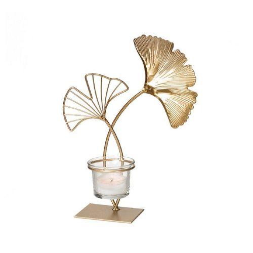 """Parts4Living Teelichthalter »Metall Kerzenhalter """"Ginkgo"""" mit Glaseinsatz Kerzenständer gold 17"""