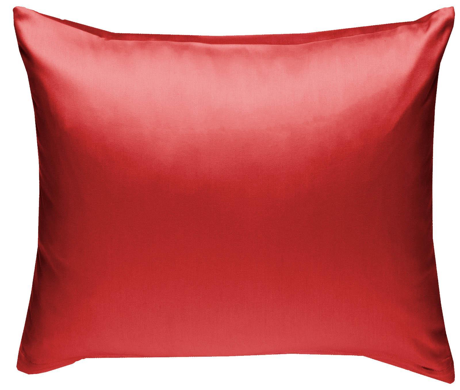 Mako Satin Kissenbezug uni rot 80x80 cm