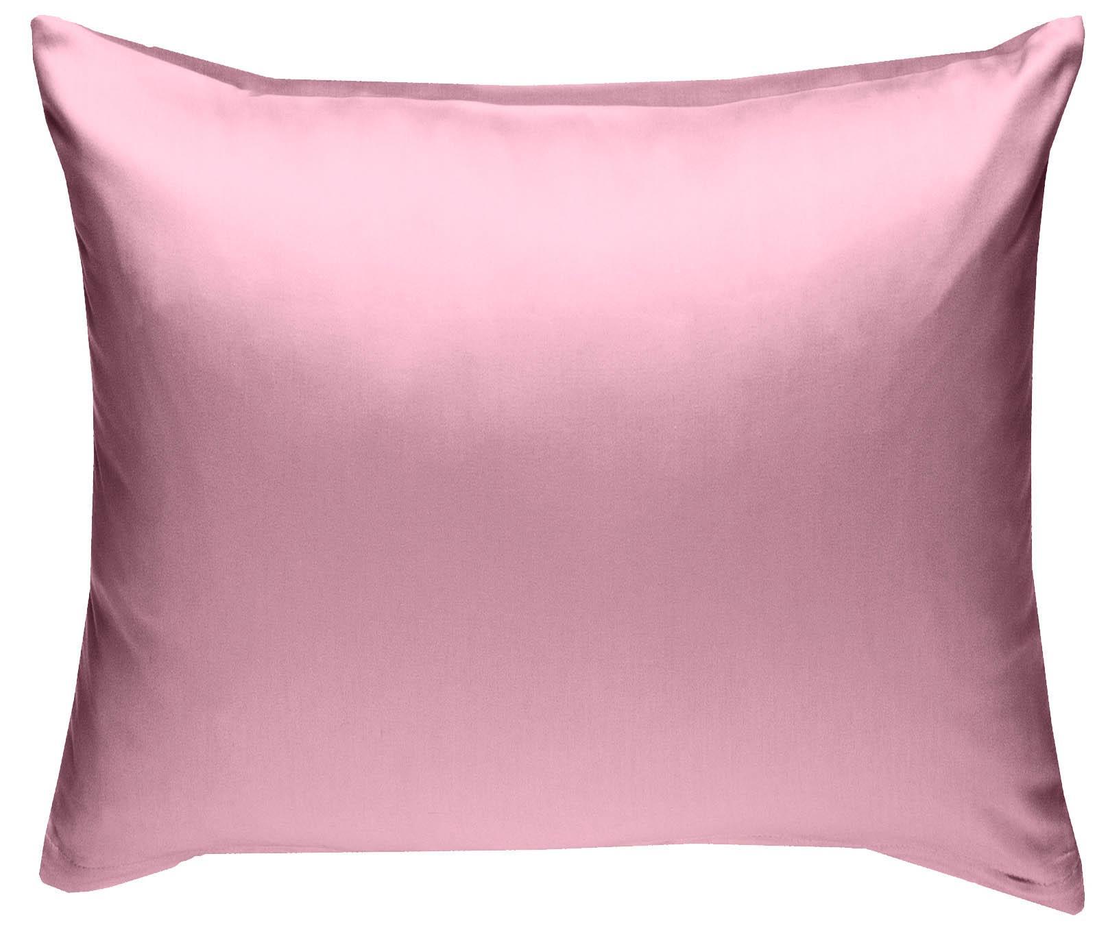 Mako Satin Kissenbezug uni rosa 80x80 cm