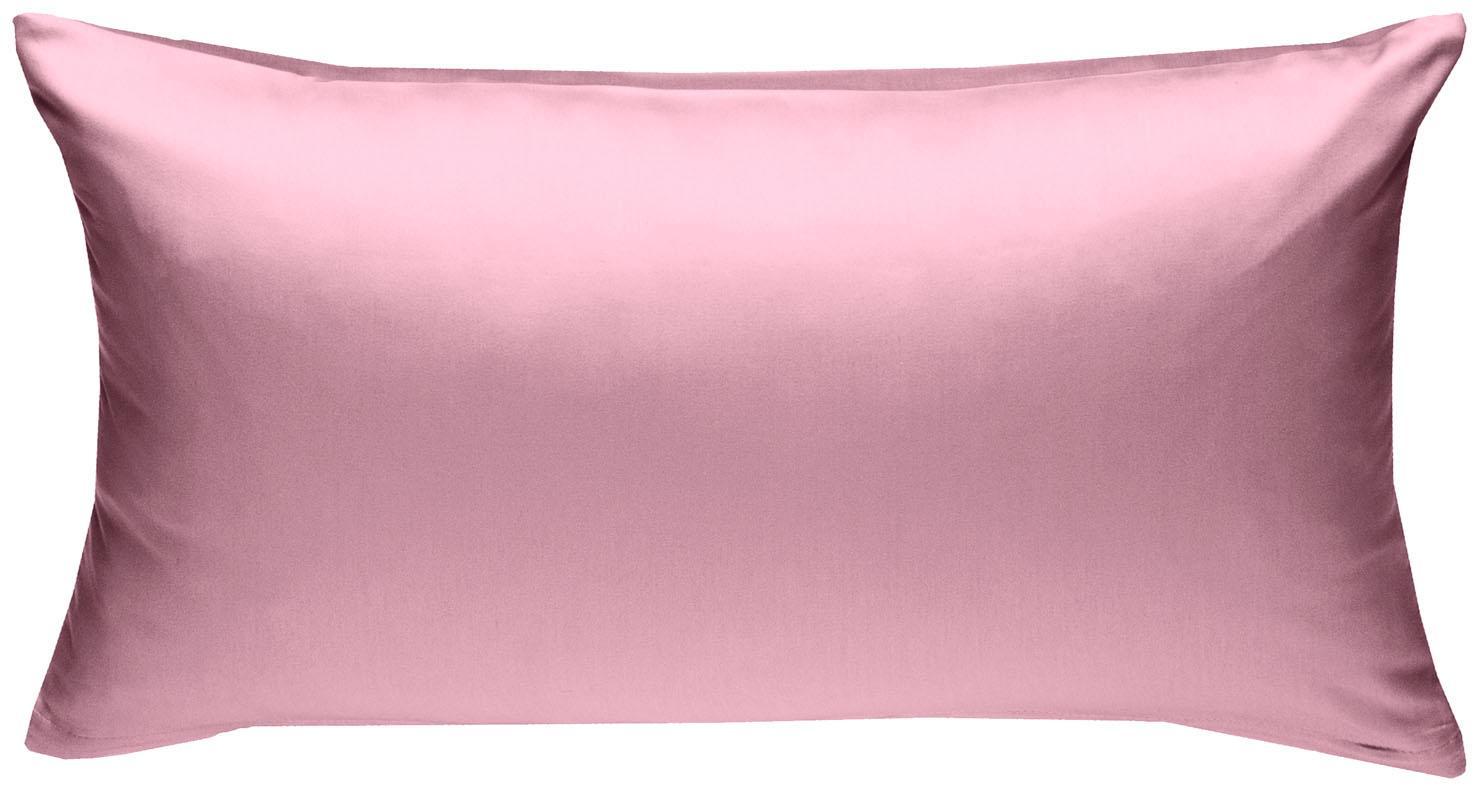 Mako Satin Kissenbezug uni rosa 40x80 cm