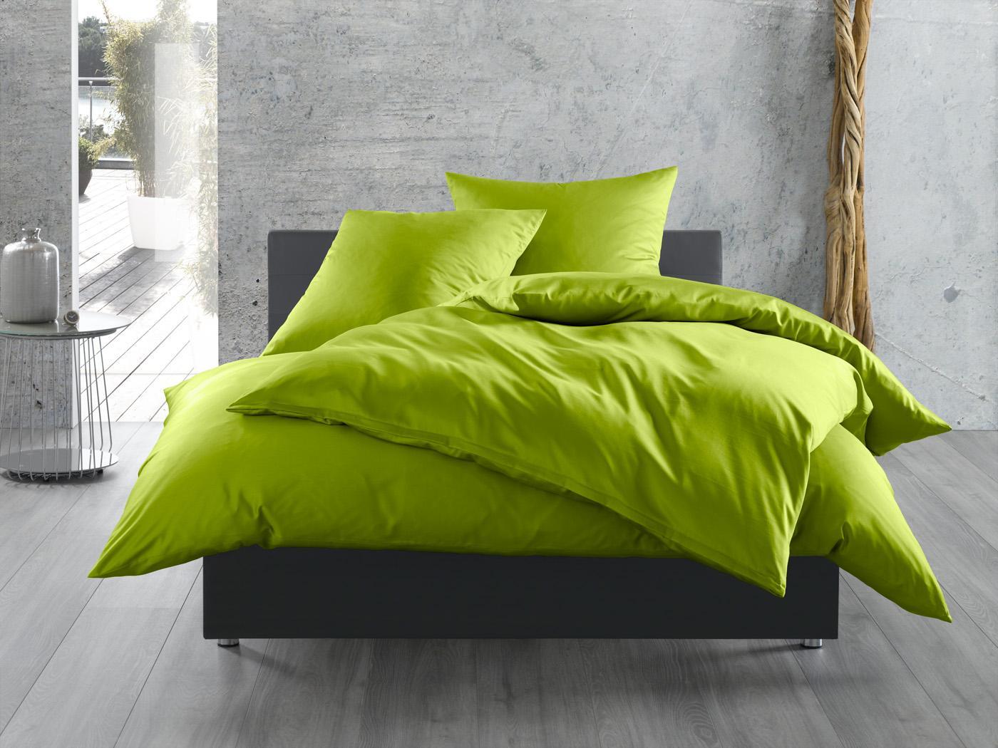 Mako Satin Bettwäsche uni grün 140x200