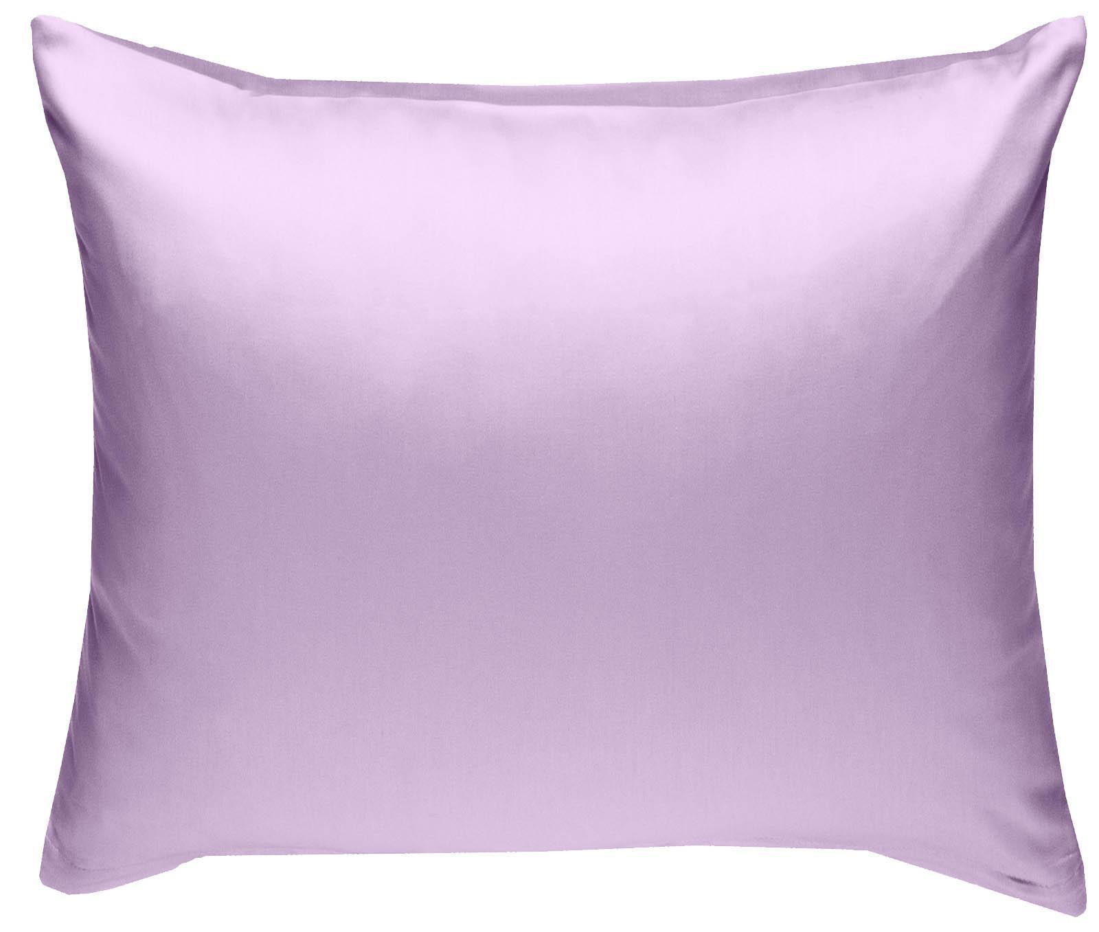 Mako Satin Kissenbezug uni flieder rosa 80x80 cm