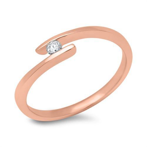 14K Rotgold Verlobungsring mit Diamant 0,05 ct.