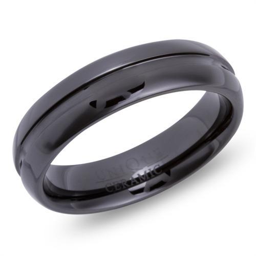 Schwarzer Keramik Ring Lasergravur