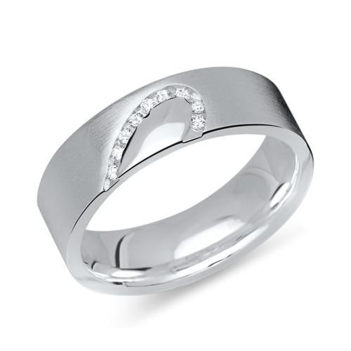 925er Silberring mit Steinbesatz halbes Herz
