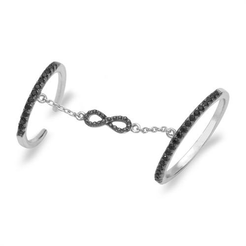Silberring mit Kette Unendlichkeitszeichen
