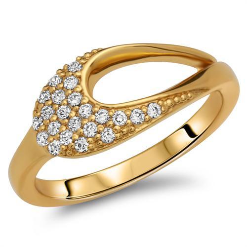 Moderner vergoldeter Silberring Zirkonia