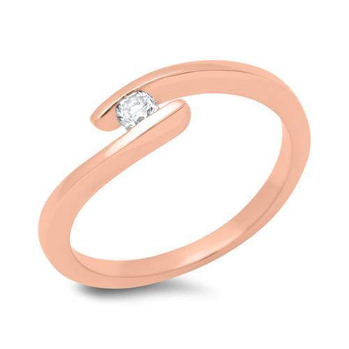 Verlobungsring 18K Rotgold mit Diamant 0,1ct.