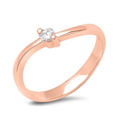18K Rotgold Verlobungsring mit Diamant 0,05 ct.