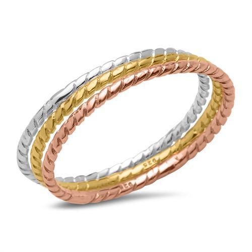 Dreiteiliges Ring-Set 925er Silber tricolor