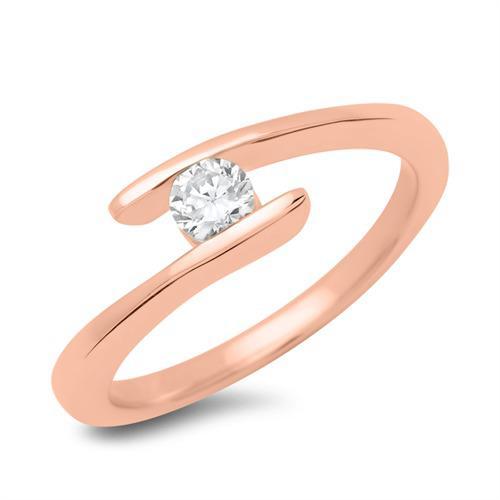 Verlobungsring 18K Rotgold mit Diamant 0,15 ct.