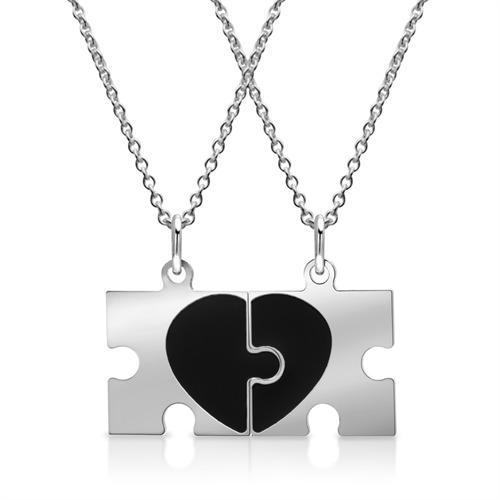 Silberkette mit Partner-Anhängern Puzzleteile