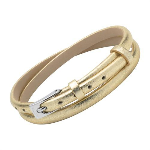 Armband Leder in Gold mit Schimmer