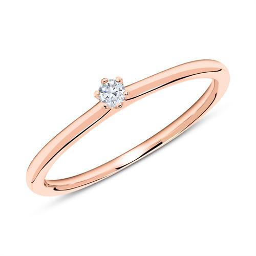 14K Roségold Verlobungsring mit Diamant 0,05 ct.